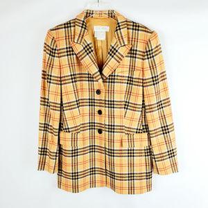 ESCADA Margaretha Ley Plaid Cashmere Blazer Jacket